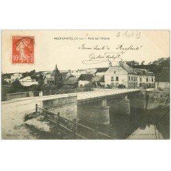 carte postale ancienne 02 NEUFCHATEL-SUR-L'AISNE. Pont 1909. Hôtel Cheval Blanc