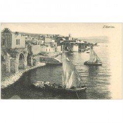 carte postale ancienne ISRAEL PALESTINE. Barques de Pêcheurs à Tiberias vers 1900