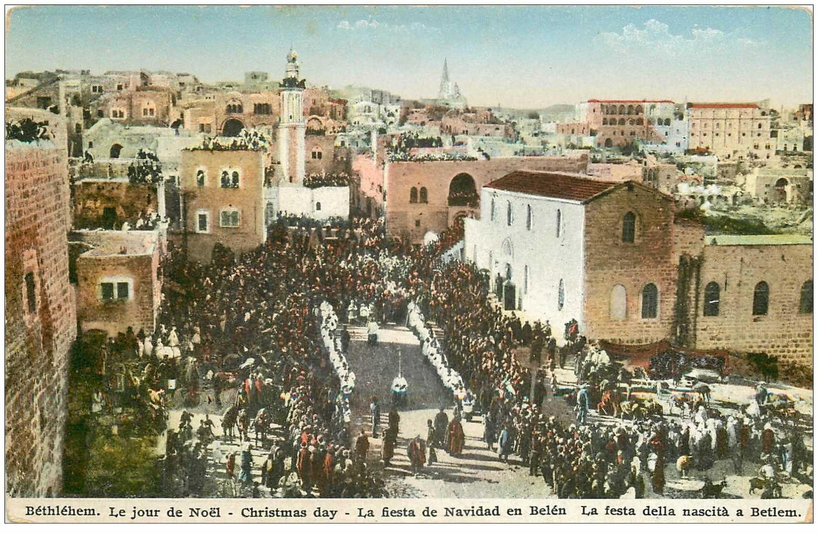 carte postale ancienne ISRAEL PALESTINE. Bethlehem. Le Jour de Noël Christmas day