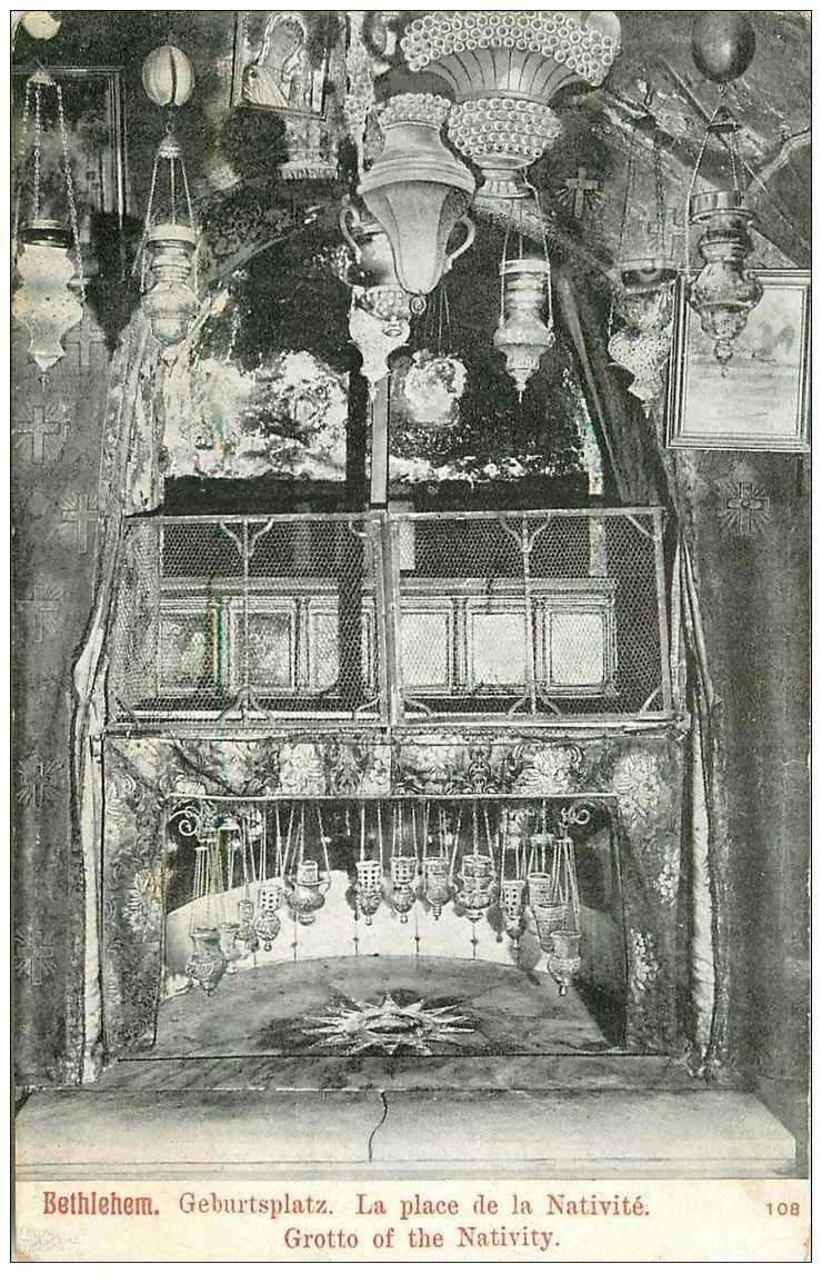 carte postale ancienne ISRAEL PALESTINE. Bethlehem. Place de la Nativité 1912