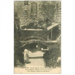 carte postale ancienne ISRAEL PALESTINE. Jérusalem. Piscine Bethesda ruines ancienne Eglise