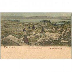 carte postale ancienne ISRAEL PALESTINE. Ruines du Capharnaüm animation vers 1900