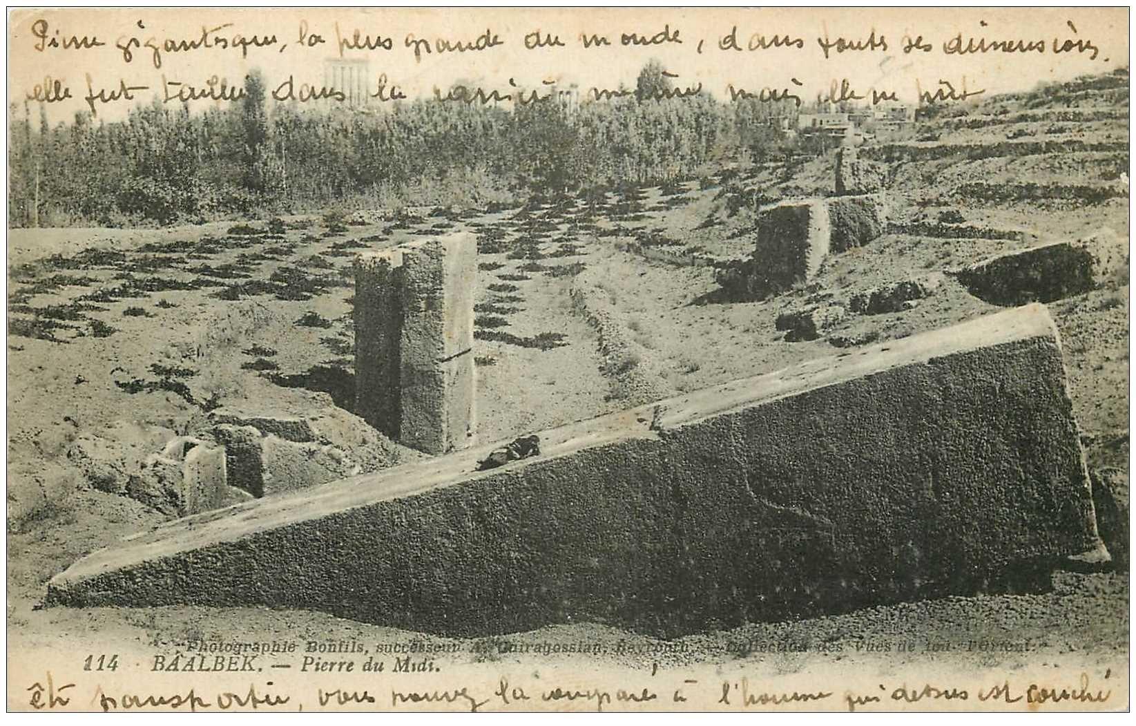 carte postale ancienne Liban Syrie. BAALBECK. Pierre du Midi 1921