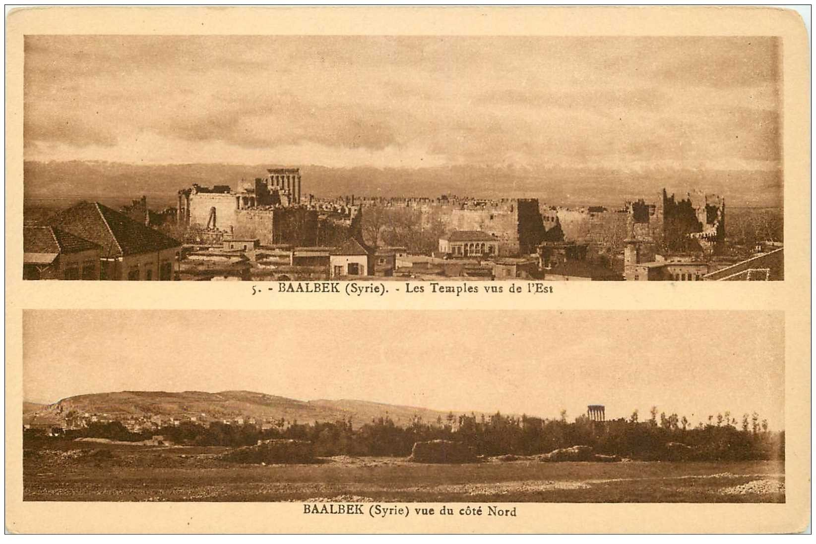 carte postale ancienne Liban Syrie. BAALBEK. Les Temples Est Nord