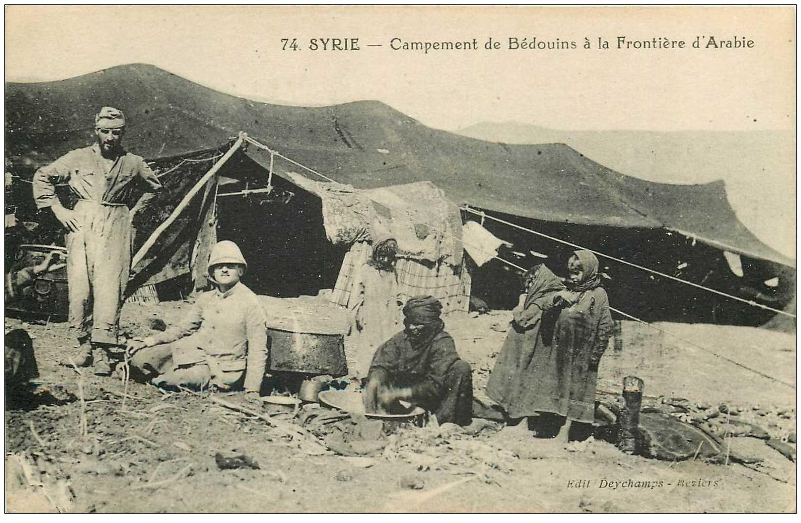 carte postale ancienne SYRIE. Campement de Bédouins à la Frontière d'Arabie. Souk el Gharb 1927