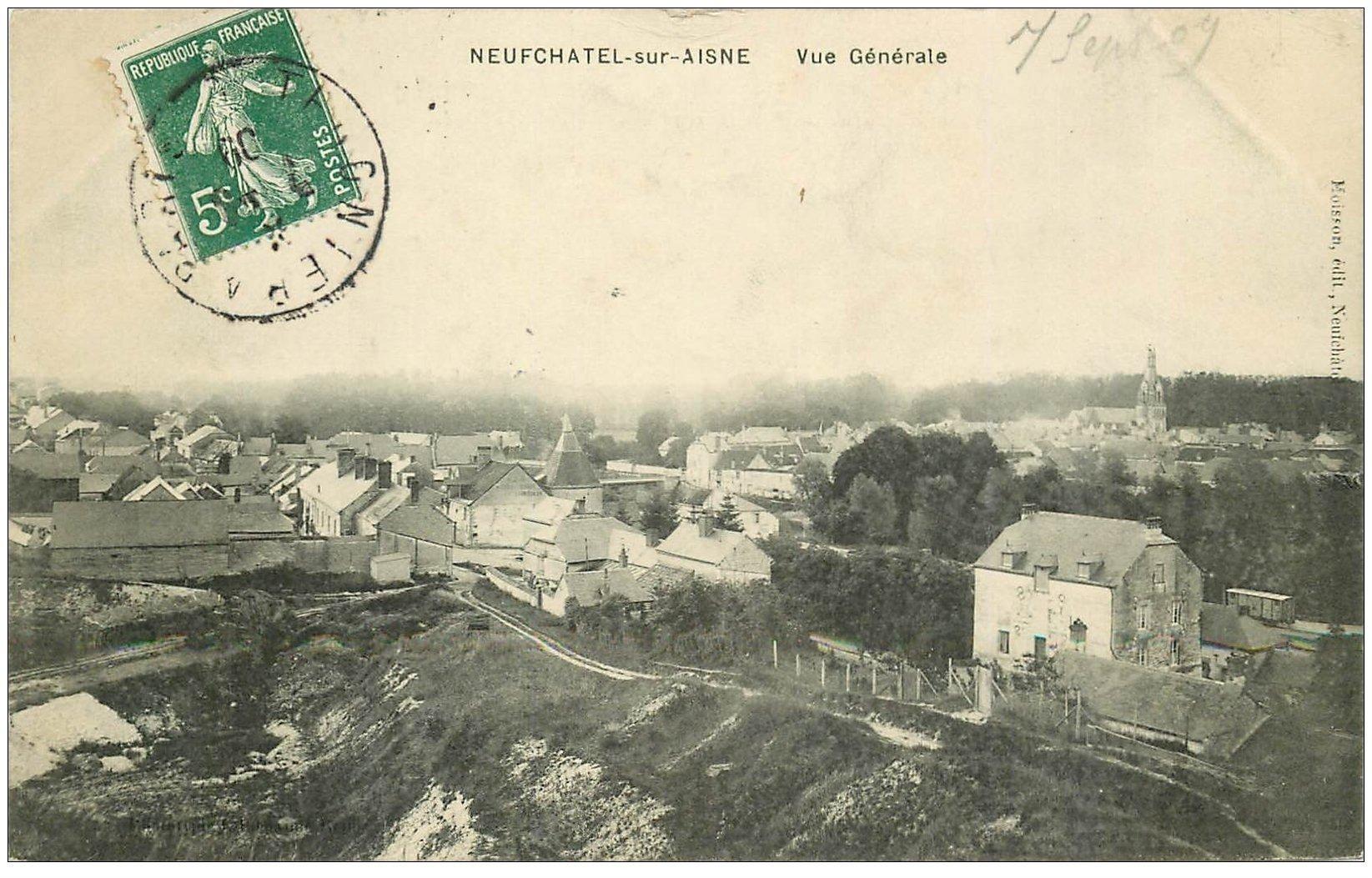 carte postale ancienne 02 NEUFCHATEL-SUR-L'AISNE. Vue générale du Village 1909