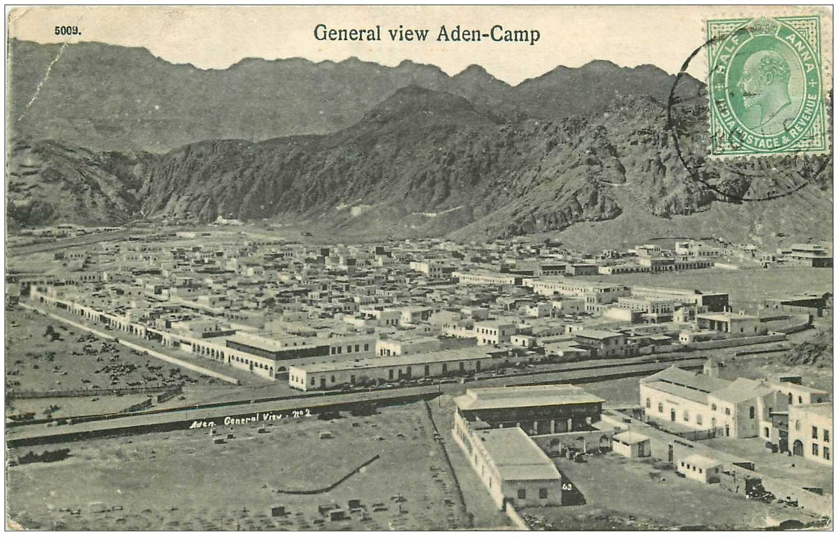 carte postale ancienne SYRIE. General view Aden Camp 1908 (pli coins gauche)