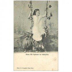 carte postale ancienne SYRIE. Jeune fille Syrienne sur balançoire vers 1900