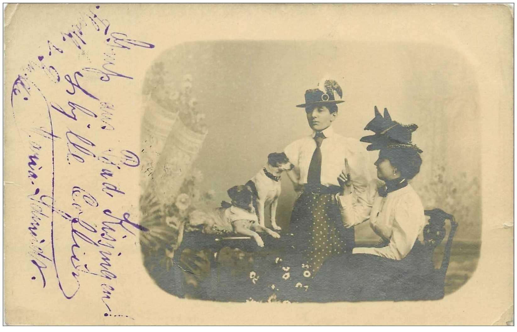 carte postale ancienne ALLEMAGNE. Bad Kissingen. Femmes et Chiens Photo carte postale rare 1908 pour Rotschild