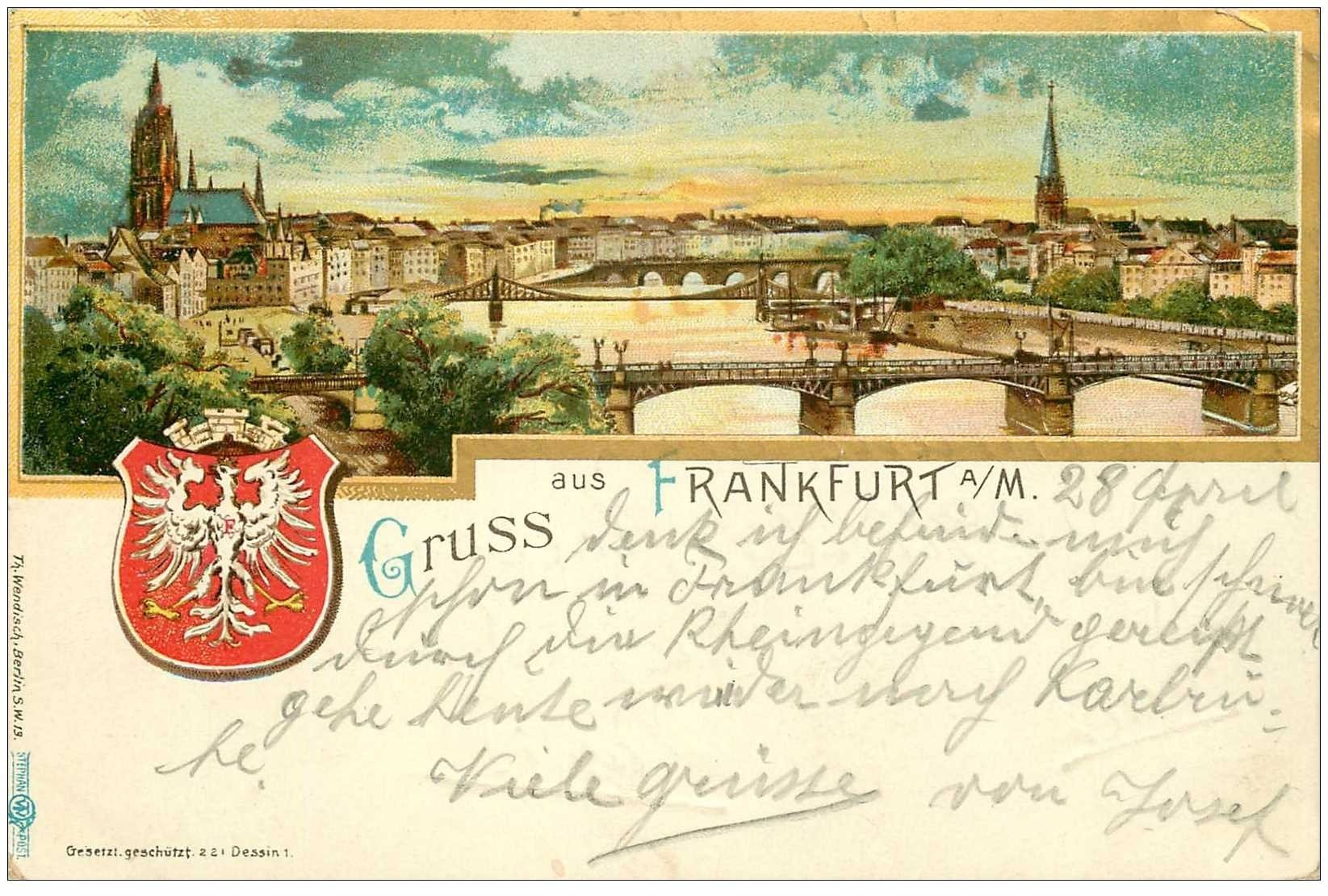 carte postale ancienne ALLEMAGNE. Gruss aus Frankfurt 1902