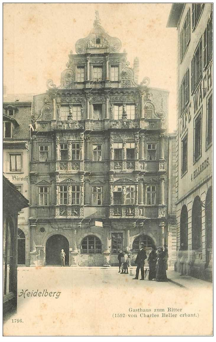 carte postale ancienne ALLEMAGNE. Heidelberg. Gasthaus zum Ritter vers 1900...