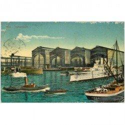 carte postale ancienne ALLEMAGNE. Kiel Vulkanwerft 1911. Pli coin gauche