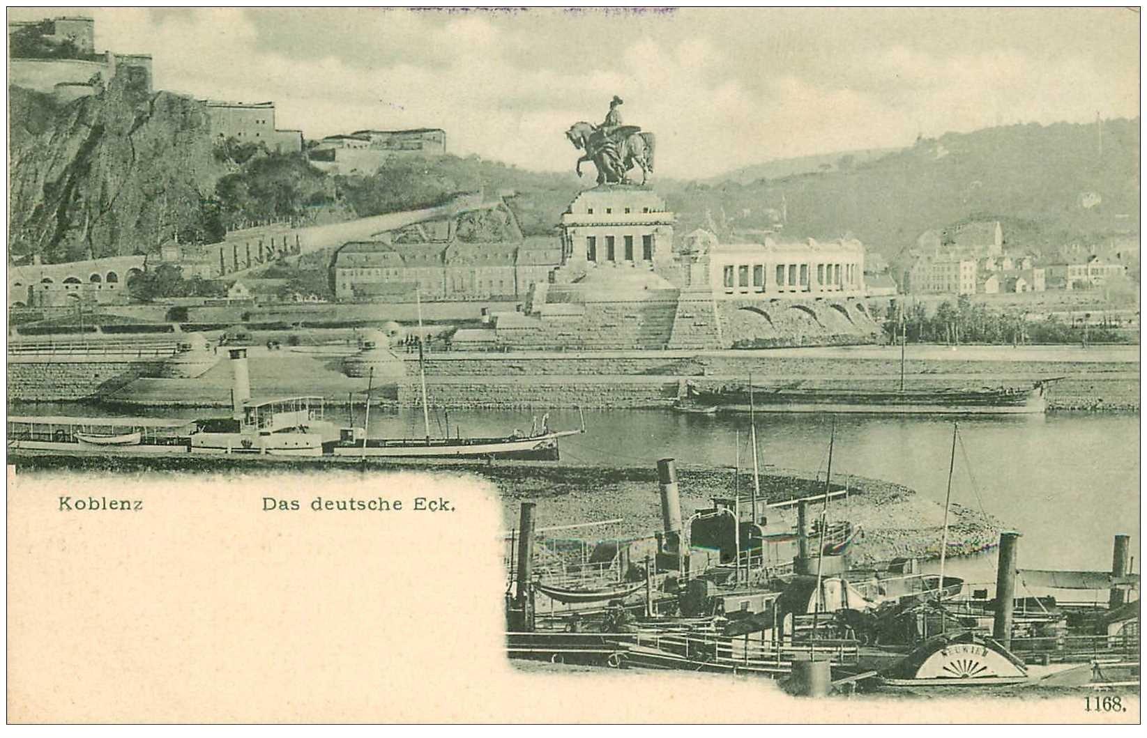 carte postale ancienne ALLEMAGNE. Koblenz das deutsche Eck vers 1900...