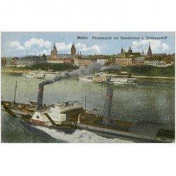 carte postale ancienne ALLEMAGNE. Mainz Rheinansicht mit Salonbooten Schleppschiff 1919