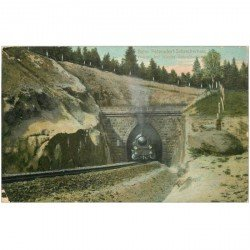 carte postale ancienne Bahn Petersdorf Schreiberhau. Tunnel avec Train