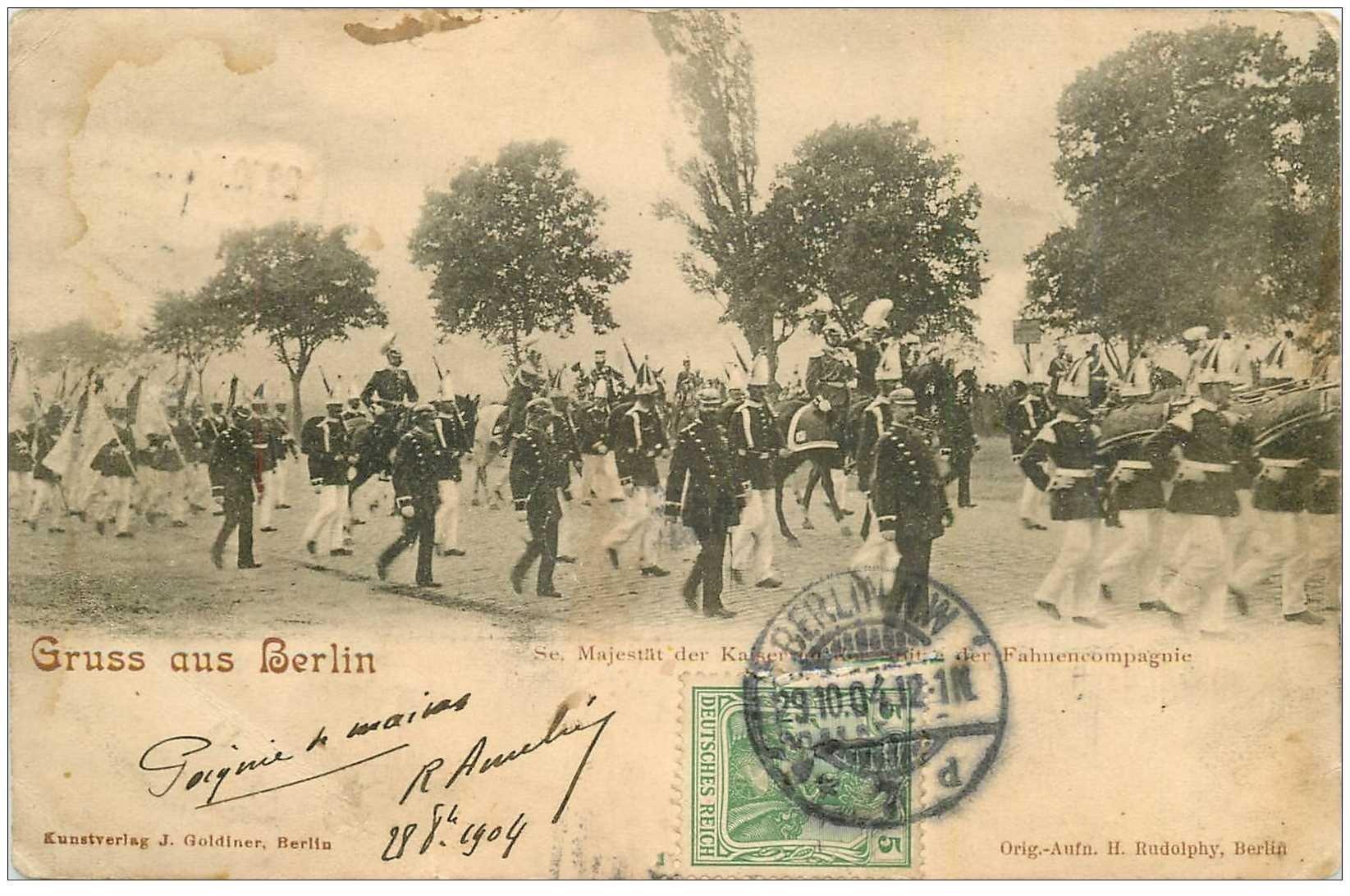 carte postale ancienne BERLIN. Se. Majestt der Kaiser der Fahnencompagnie 1904. Ecrite à Ameline comédien