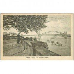 carte postale ancienne BONN. Alter Zoll und Rheinbrücke