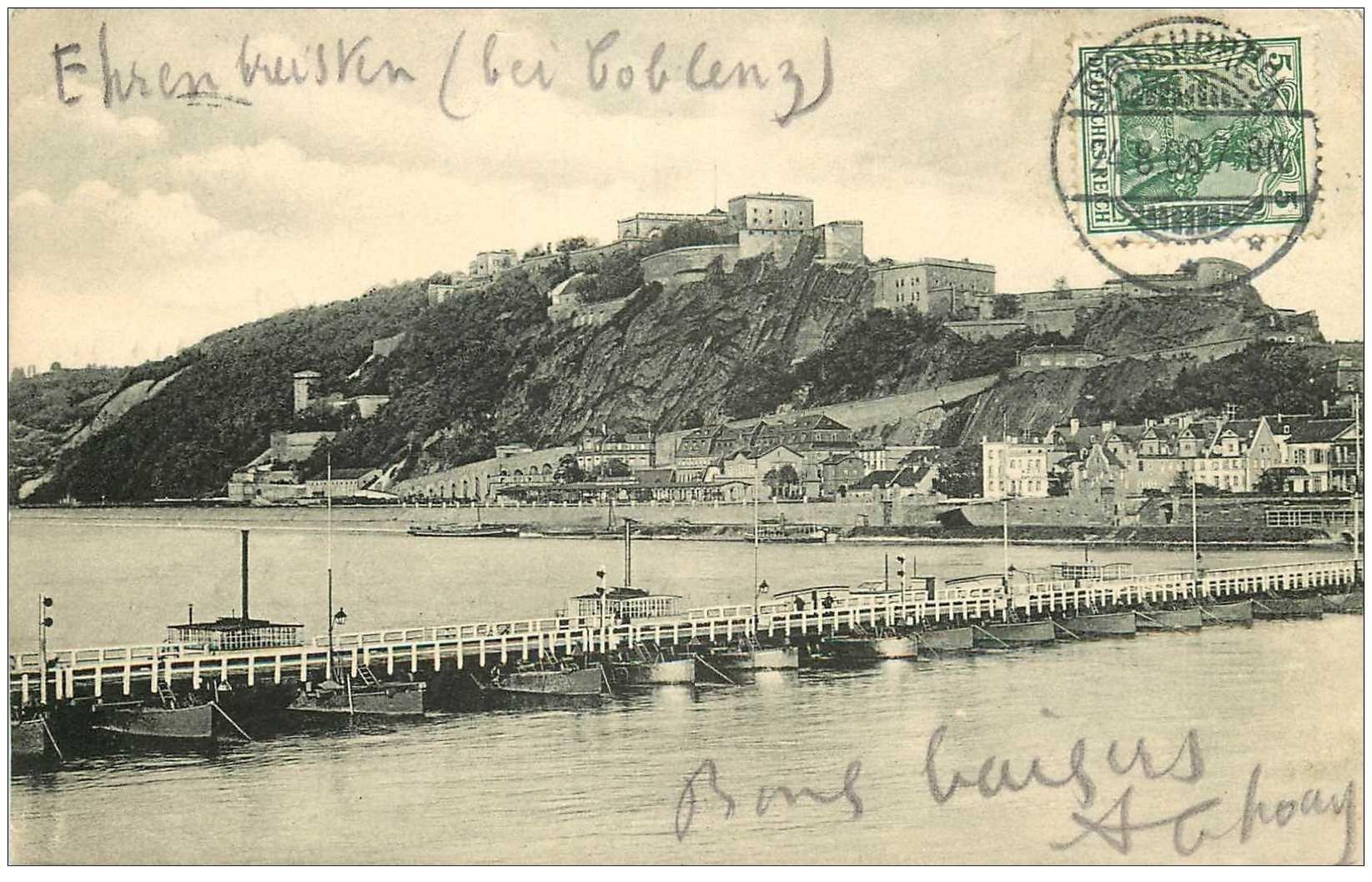 carte postale ancienne DEUTSCH ALLEMAGNE. Ehrenbreitstein 1908