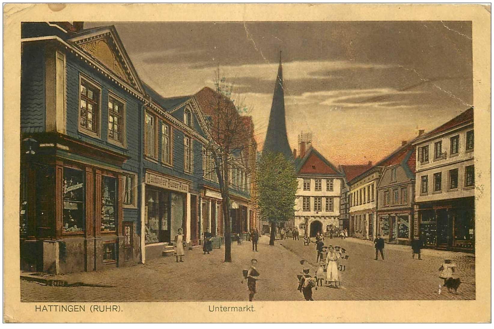 carte postale ancienne DEUTSCH ALLEMAGNE. Hattingen Untermarkt 1923 (plissures)...