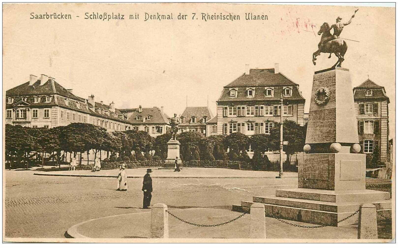 carte postale ancienne DEUTSCH ALLEMAGNE. Saarbrücken Schlosplatz