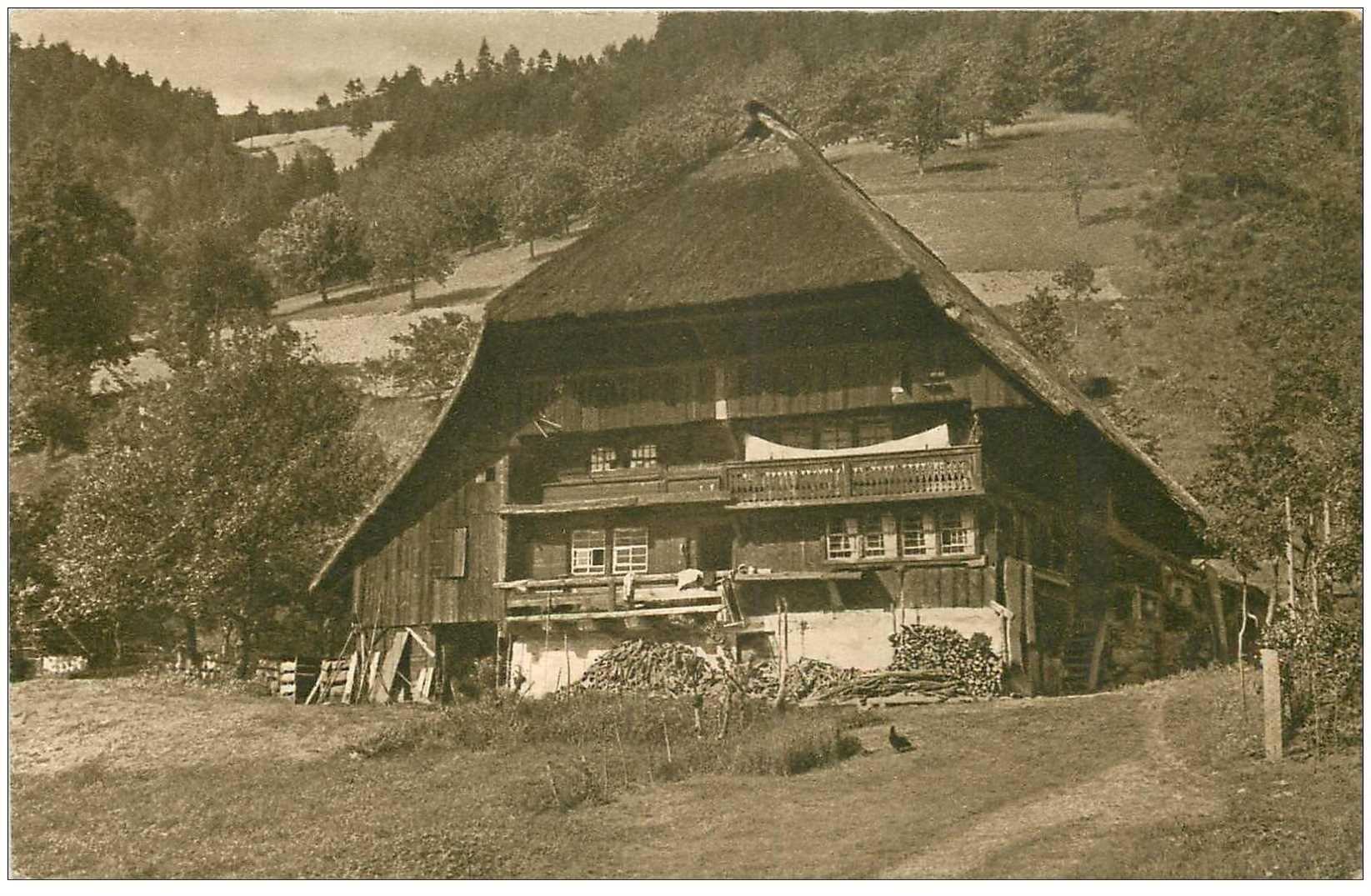 carte postale ancienne DEUTSCH ALLEMAGNE. Schwarzwald Bauernhaus 1913 carte déliassée