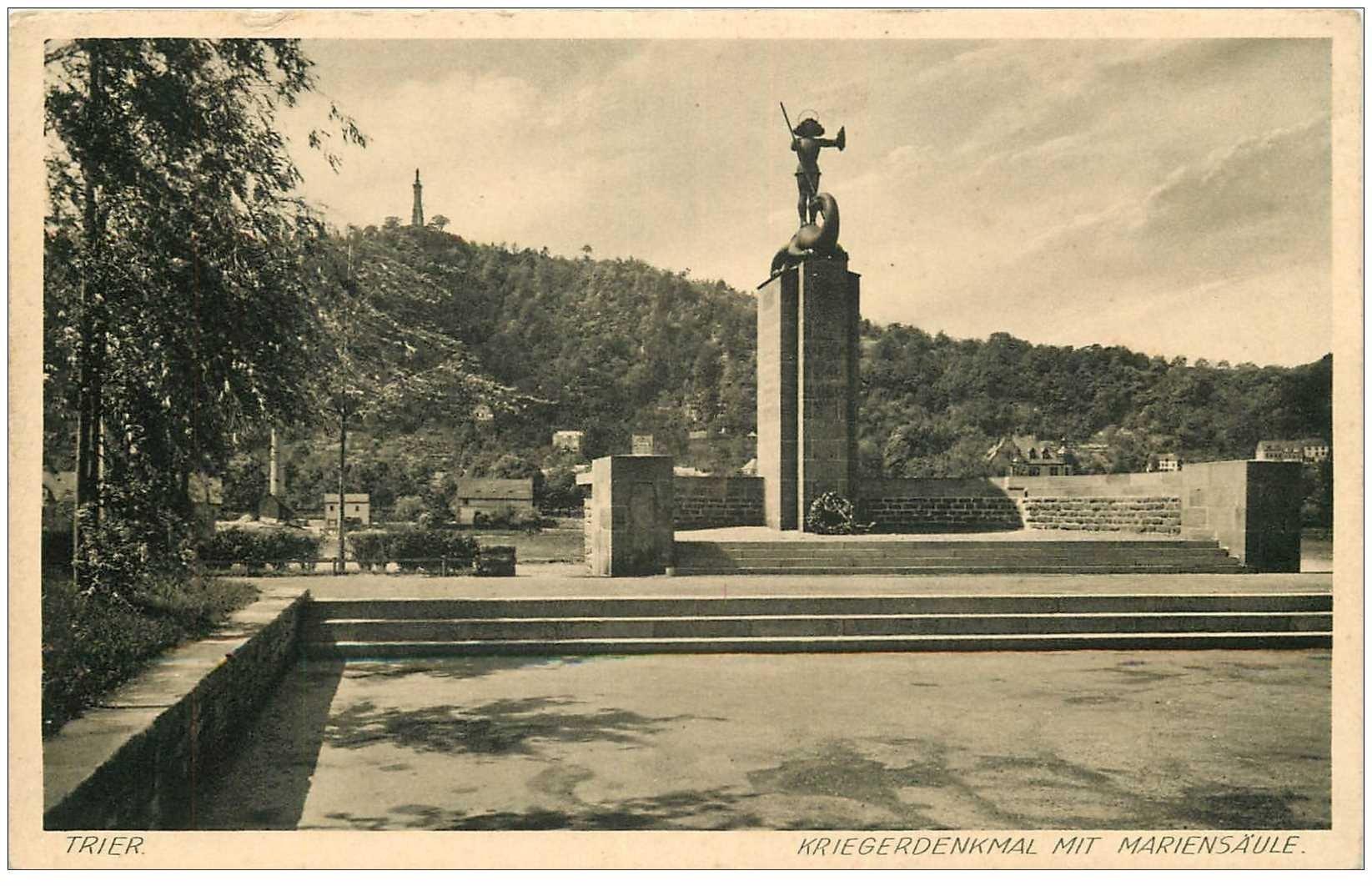 carte postale ancienne DEUTSCH ALLEMAGNE. Trier Kriegerdenkmal mit Mariensäule