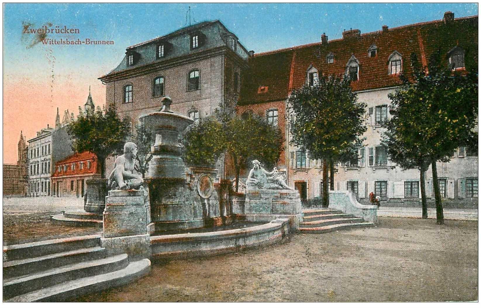 carte postale ancienne DEUTSCH ALLEMAGNE. Zweibrücken Wittelsbach Brunnen 1919