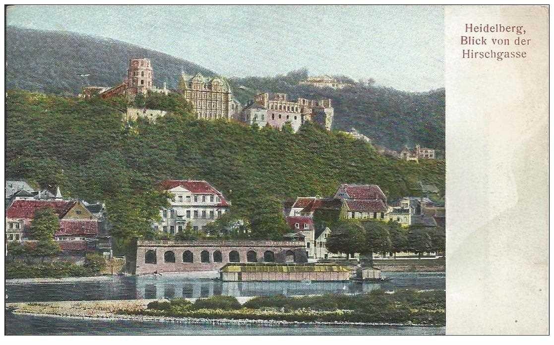 carte postale ancienne DEUTSCHES ALLEMAGNE. Heidelberg blick von der Hirschgrasse. Carte relief gaufrée