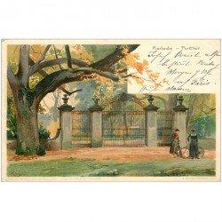 carte postale ancienne DEUTSCHES ALLEMAGNE. Karlsruhe Parkthor 1902. Pli coin droit