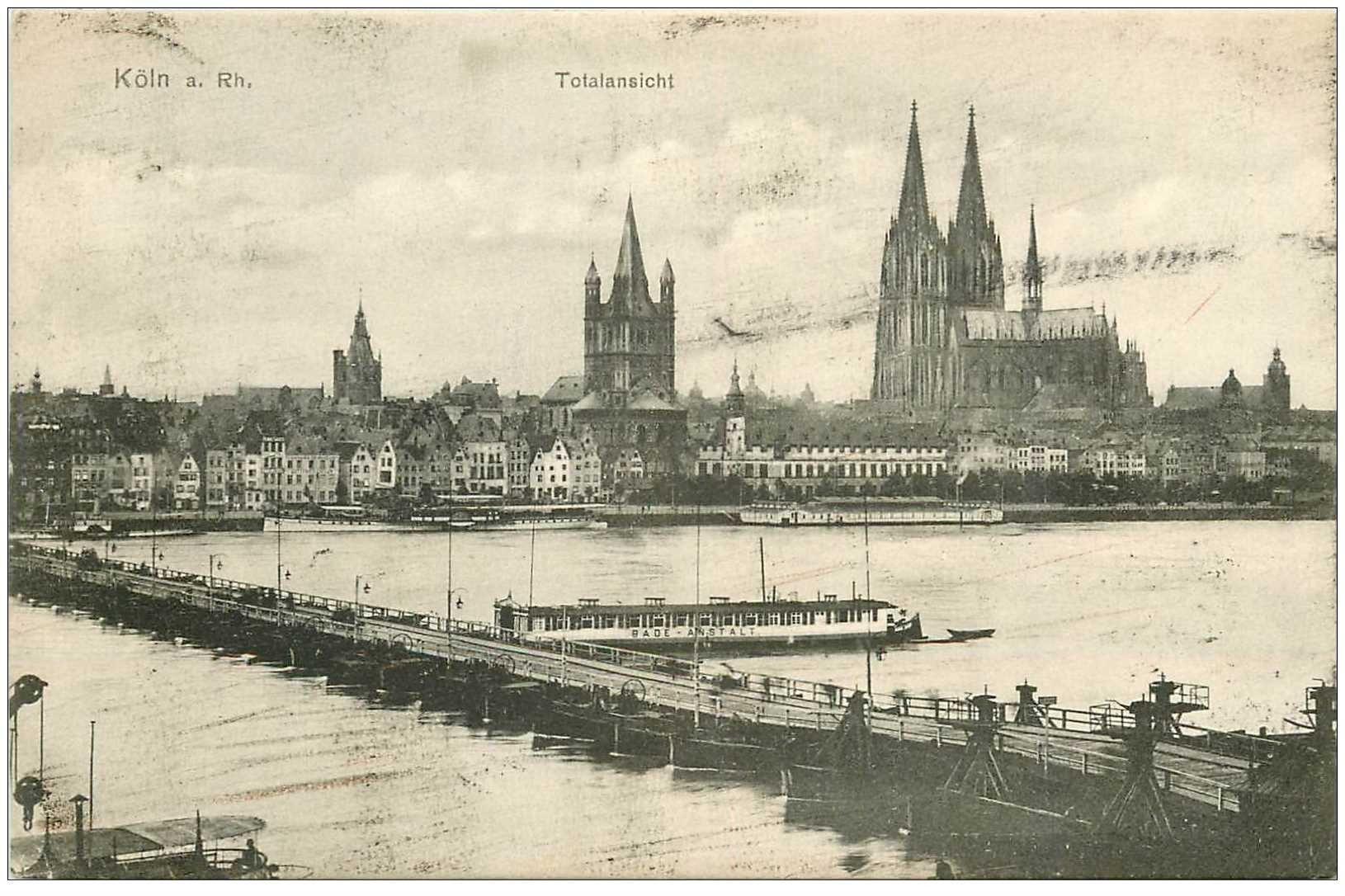 carte postale ancienne DEUTSCHES ALLEMAGNE. Köln Totalansicht 1907