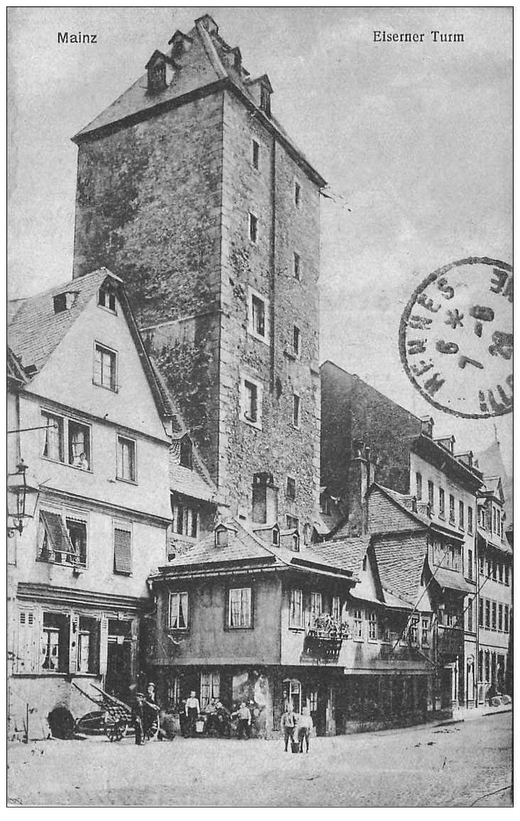 carte postale ancienne DEUTSCHES ALLEMAGNE. Mainz Eiserner Turm 1928 timbre absent