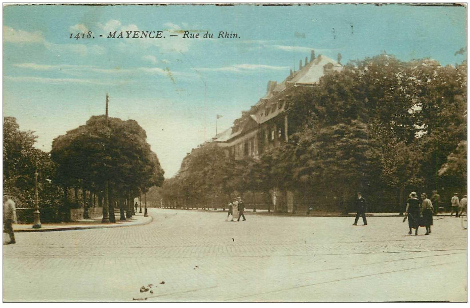 carte postale ancienne DEUTSCHES ALLEMAGNE. Mainz Mayence Rue du Rhin 1925