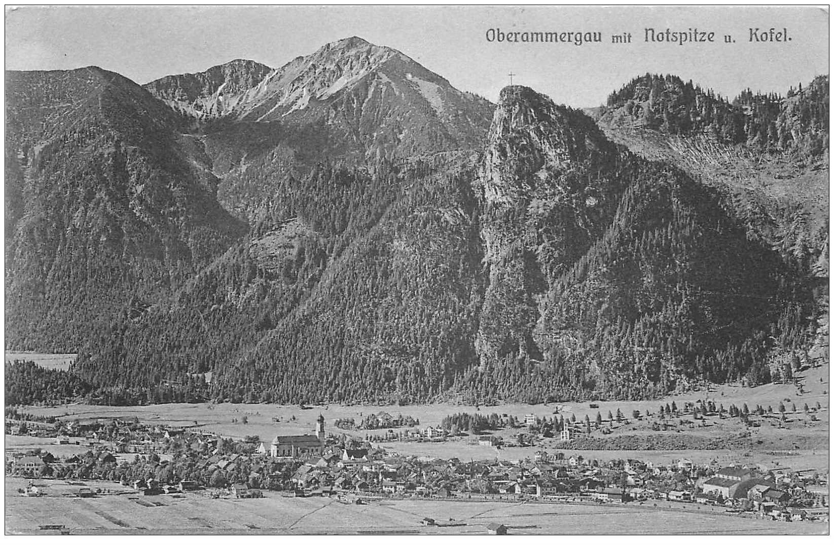 carte postale ancienne DEUTSCHES ALLEMAGNE. Oberammergau mit Notspitze Kofel 1910