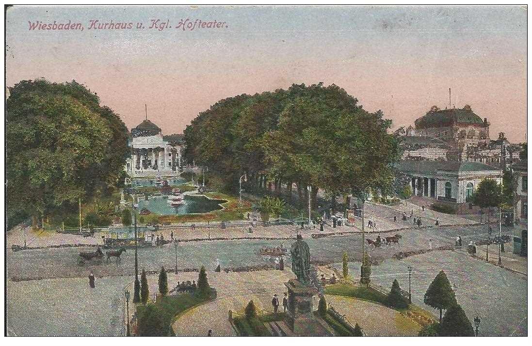 carte postale ancienne DEUTSCHES ALLEMAGNE. Wiesbaden Kurhaus Kgl Hofteater. Carte pailletée argentée