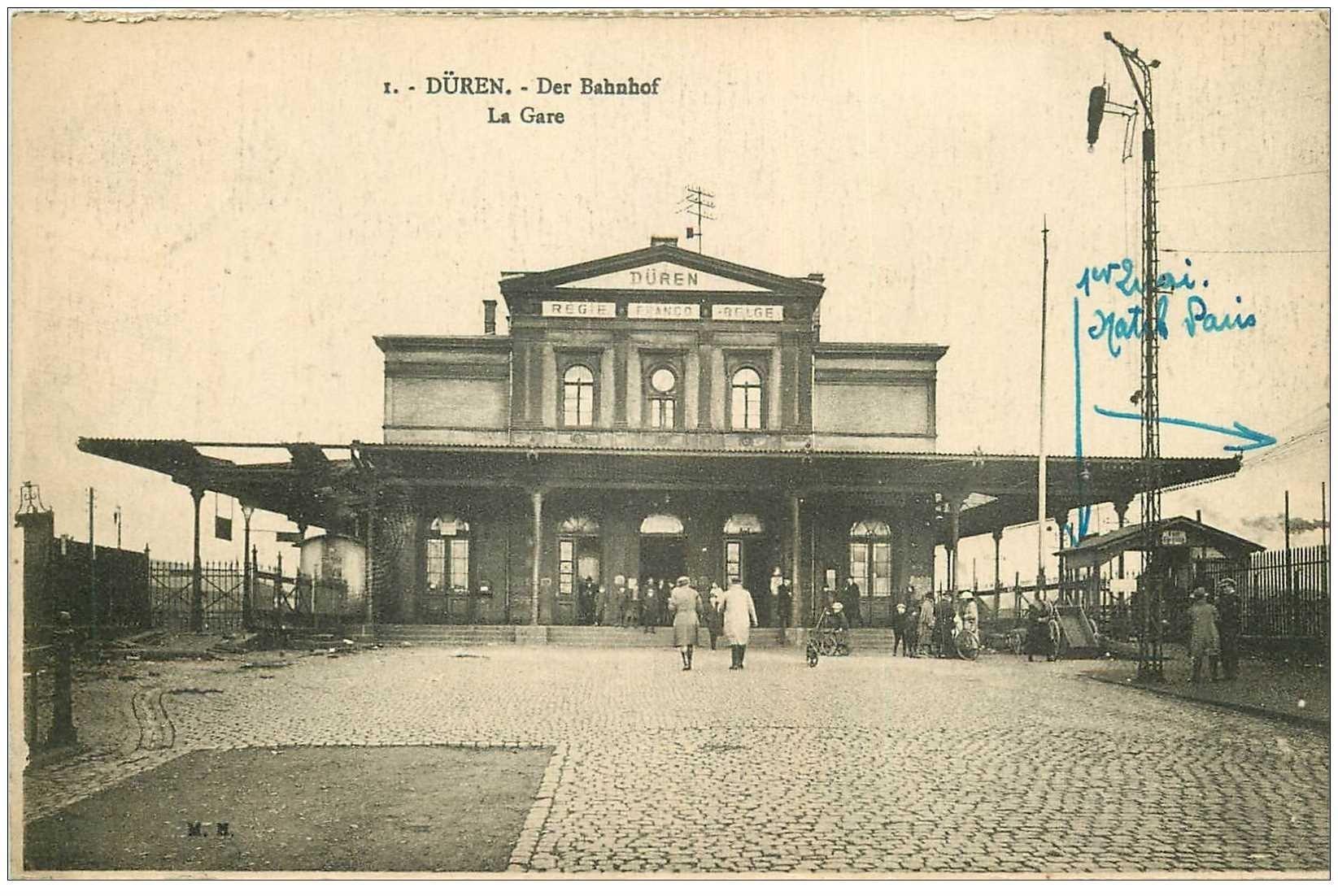 carte postale ancienne DÜREN. Der Bahnhof. La Gare 1925