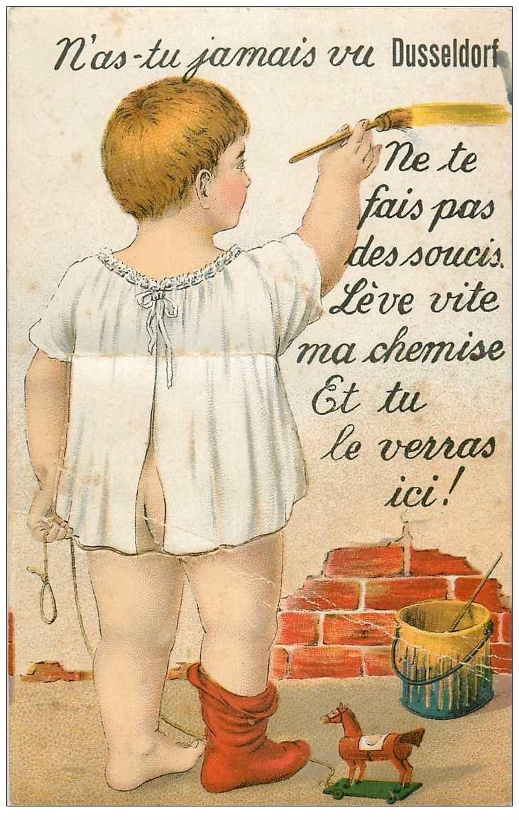 carte postale ancienne DUSSELDORF. Carte postale à système avec 10 mini vues sous le tablier 1923