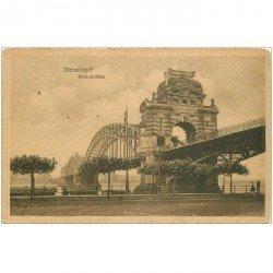 carte postale ancienne DUSSELDORF. Rheinbrücke 1914