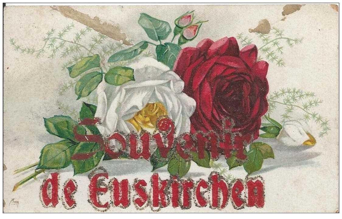 carte postale ancienne EUSKIRCHEN. Fleurs Roses et souvenir en paillettes rouges et argents