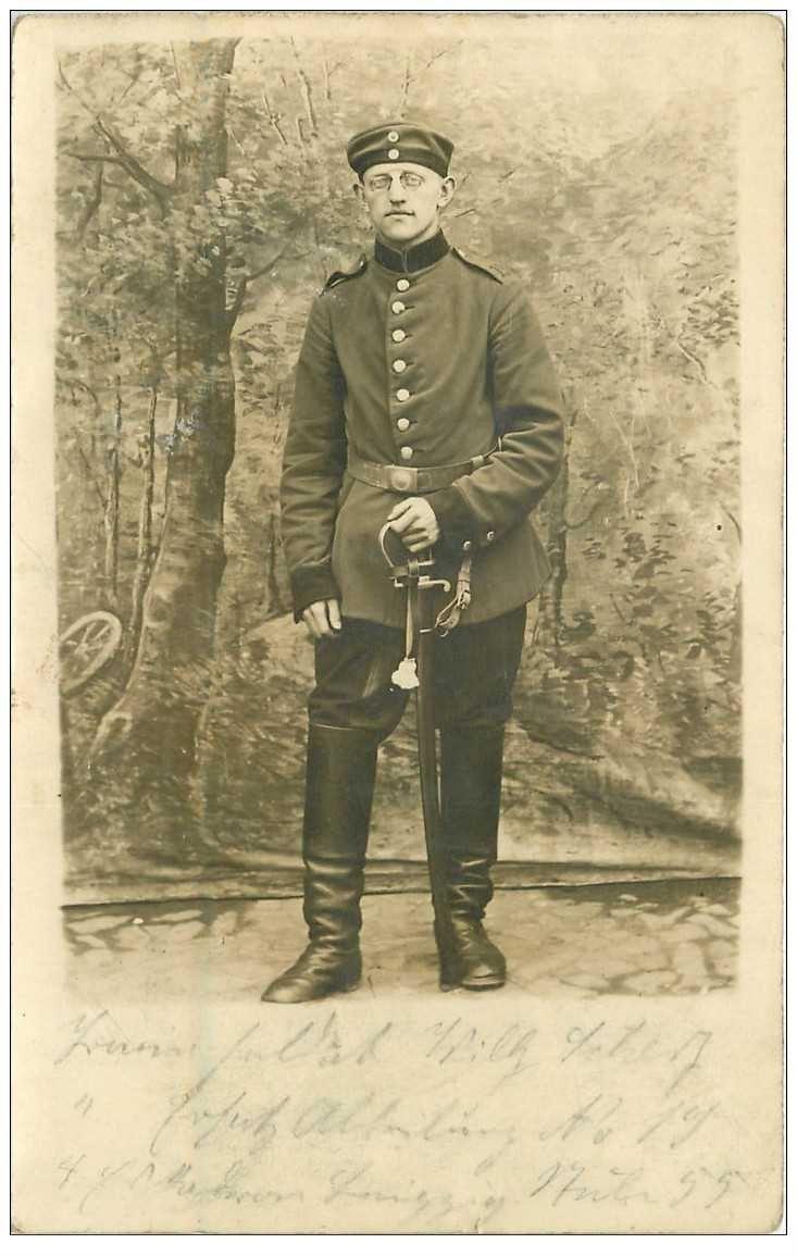 carte postale ancienne FOTOKAART LEIPZIG 1915. Soldat en uniforme