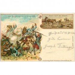 carte postale ancienne Gruss aus 1899. Die Gardedragoner und appeil nach der Schlacht. Militaires et Dragons 1899