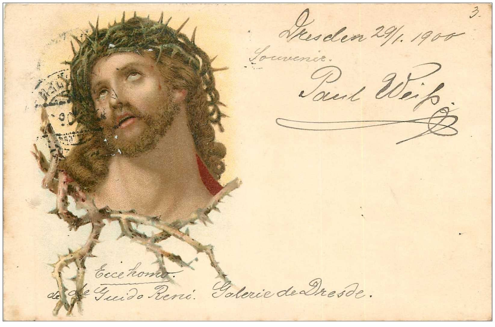 carte postale ancienne Gruss aus DRESDEN Galerie de Dresde 1900. Ecce homo de Guido René. Paul Weiss