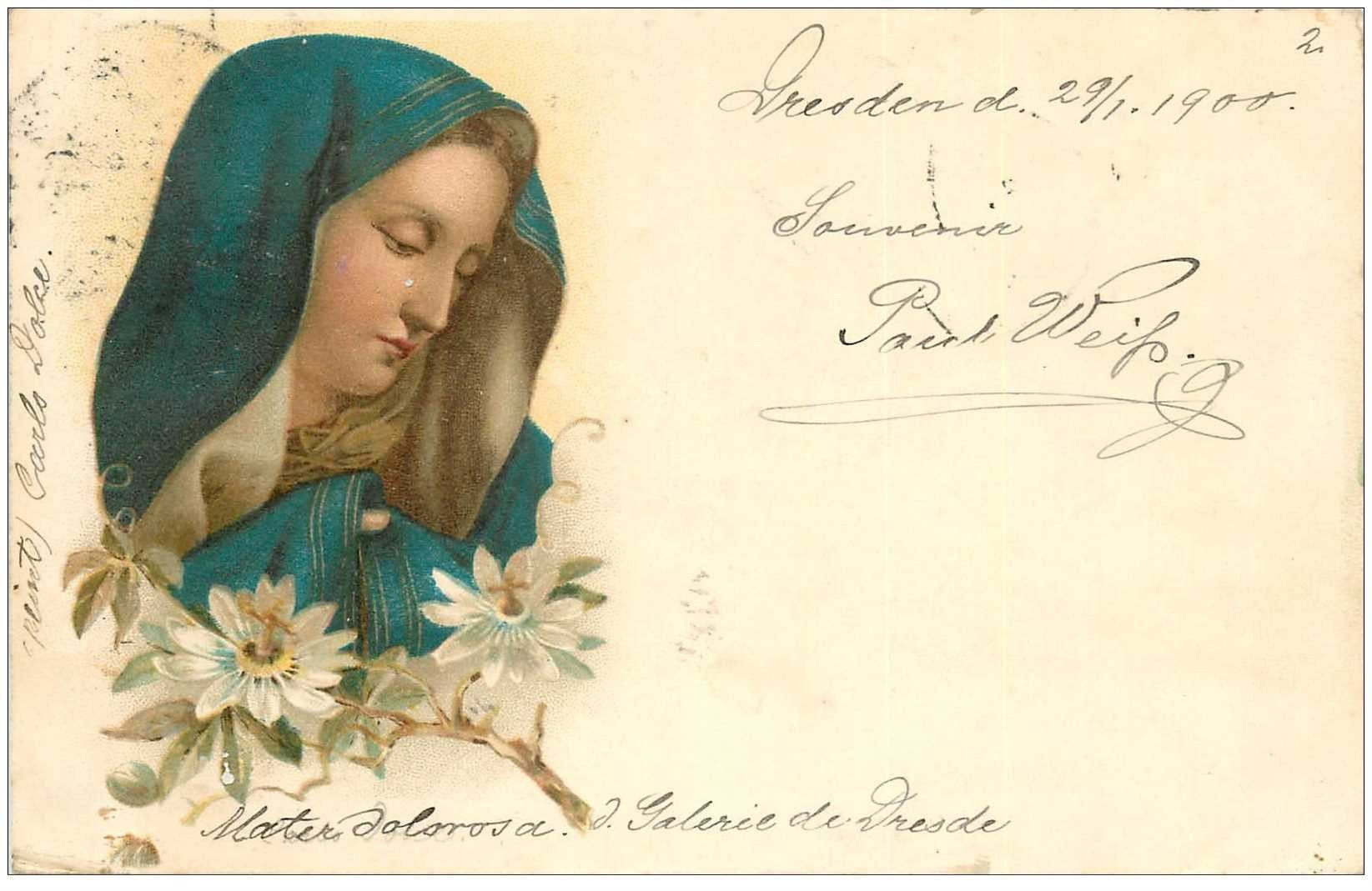 carte postale ancienne Gruss aus DRESDEN Galerie de Dresde 1900. Mater Dolorosa par Carlo Dolce. Paul Weiss