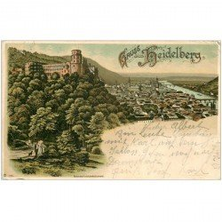 carte postale ancienne GRUSS aus HEIDELBERG 1901