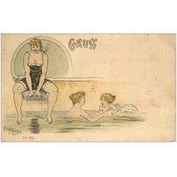 carte postale ancienne Gruss de Baigneuse Sauna Piscine Bains par Liebze