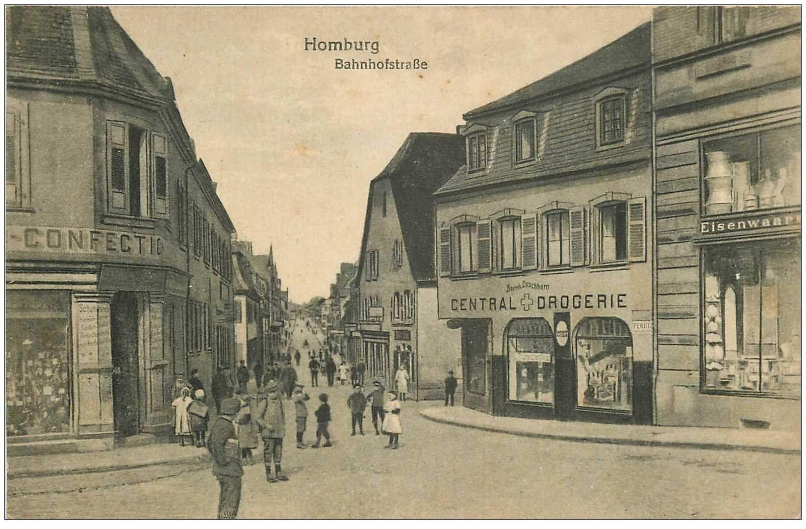 carte postale ancienne HOMBURG. Bahnofstrasse 1918 Central Drogerie