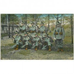 carte postale ancienne Jäger Bataillon n°13. Felduniform 1915. Militaires Soldats