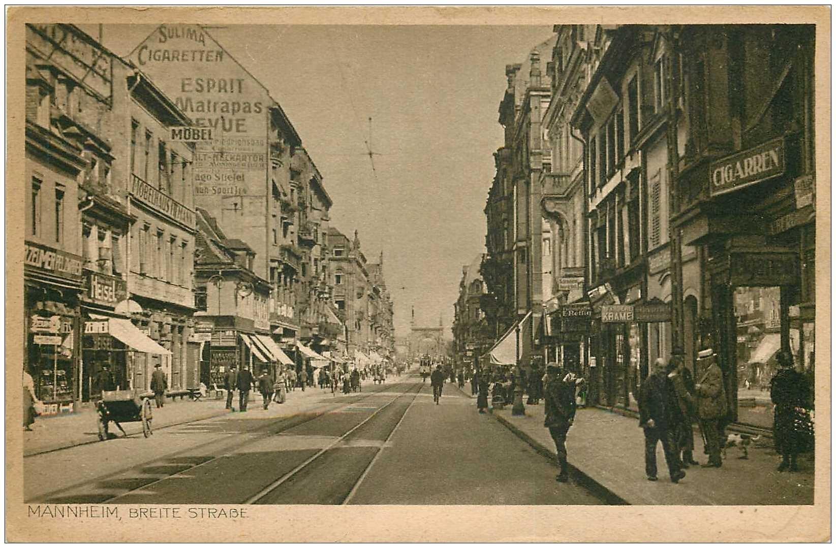 carte postale ancienne MANNHEIM. Breite Strasse 1922. Timbre manquant...