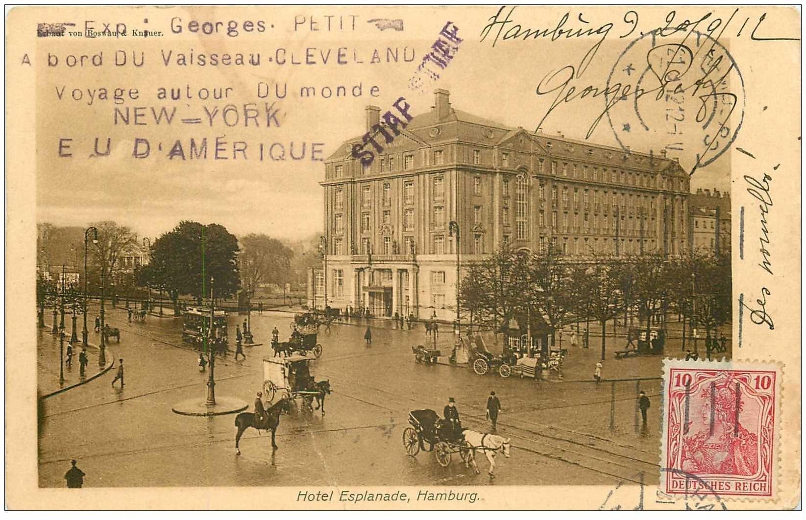 carte postale ancienne Rare HAMBURG. Carte envoyée par Georges Petit à bord du Vaisseau Cleveland voyage