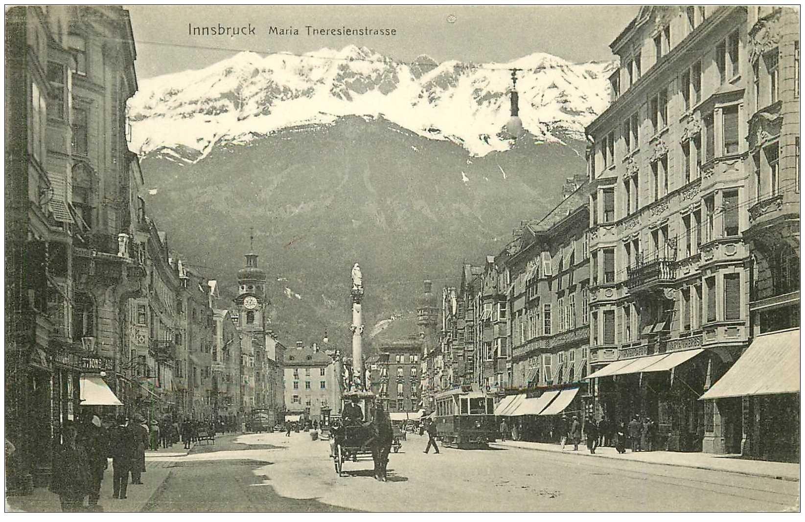 carte postale ancienne AUTRICHE OSTERREICH. Innsbruck. Maria Thereisienstrasse