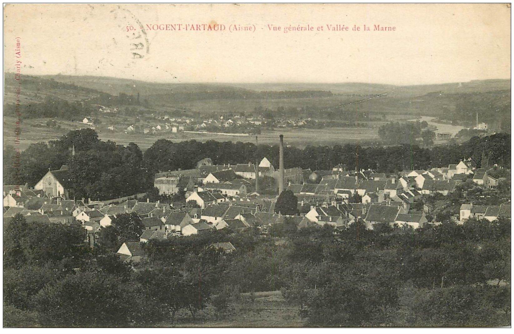 carte postale ancienne 02 NOGENT-L'ARTAUD. 1925 Village et Vallée de la Marne